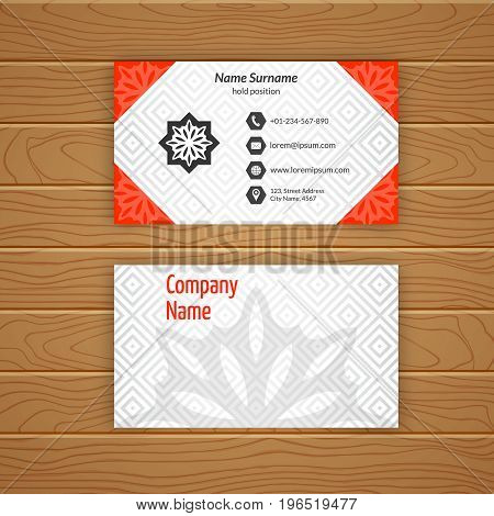 Business card blank template with textured background from diamond tiles. Minimal elegant vector design