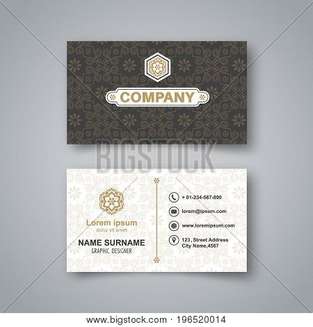Template of the blank business card on a gray background with a realistic shadow.Card with a flower pattern. Vector illustration.