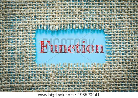 Text Function on paper blue has Cotton yarn background you can apply to your product.