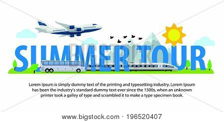 Summer travel banners in flat style. Traveling in time of vacation by plane, train and bus. Template for advertising, ads and website. The summer holiday. Isolated objects on white background. Vector illustration