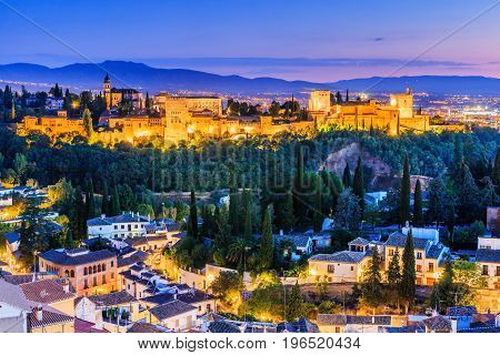 Granada Spain.Alhambra of Granada Spain. Alhambra fortress at twilight.