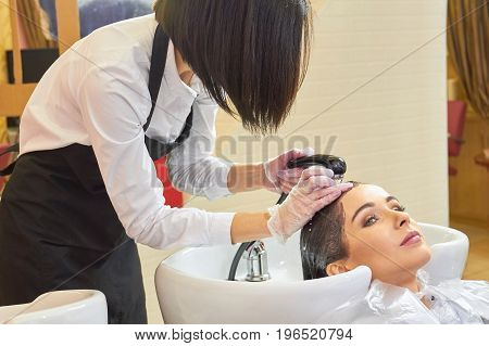 Woman getting head washed. Beautician rinsing out hair dye.