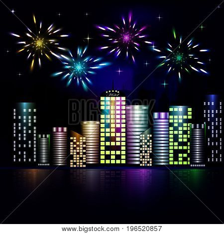 Firework in the night sky of the city. Stars in the night sky lighting with firework. Vector illustration. Abstract background with buildings, firework, stars. Victory symbol.