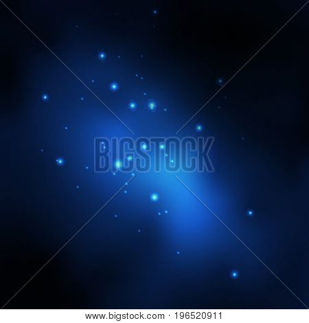 Vector space galaxy background. Blue space galaxy with stardust and bright shining stars. Starry space on the blue background. Vector illustration for your own design.