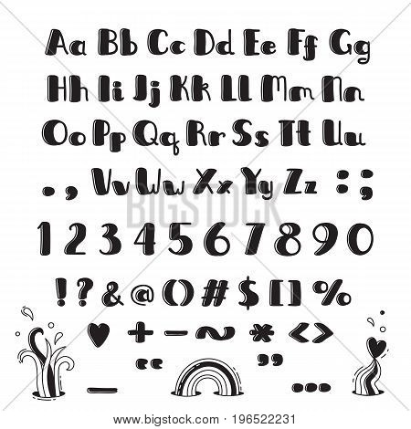 Hand drawn alphabet. Capital letters, lowercase, numbers and symbols in fun cartoon style. Vector illustration