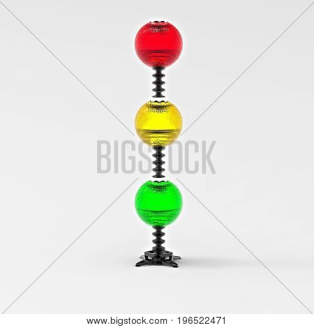 3D rendering. Creative traffic light. Front of three lights red, yellow and green colors. Fancy a traffic light. Lamp of three balls of different colors.