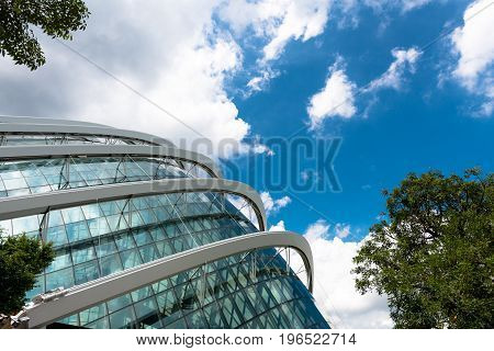SINGAPORE - MARCH 22 2017: Futuristic architecture of Flower Dome tourist attraction at Gardens by the Bay in Singapore.