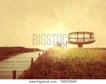 Film Effect. Tourist Atractiion, Caffe Room At Sea Shore With Round View. Wooden Board To Offshore,