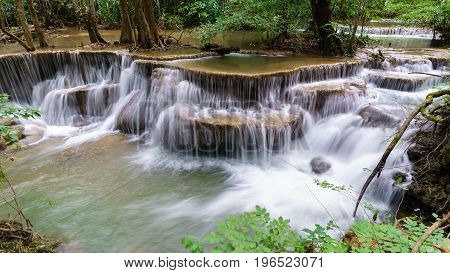 Viewpoint tier 6 at Huay Mae Khamin Waterfalls is located in Khuean Srinagarindra National Park north of Kanchanaburi The seven-tiered waterfalls Thailand