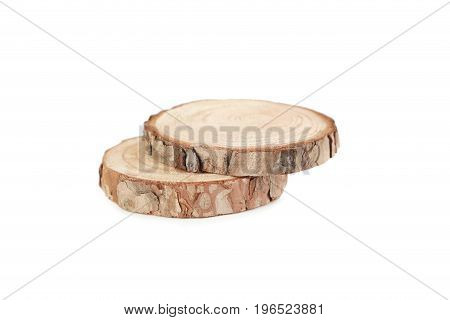 Cross Section Of Tree Trunk Isolated On A White