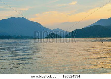 Landscape of Mountain ranges in Japan around lake Kawaguchiko at dusk