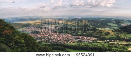 Panoramic photo of Donzdorf in Baden-Württemberg Germany.
