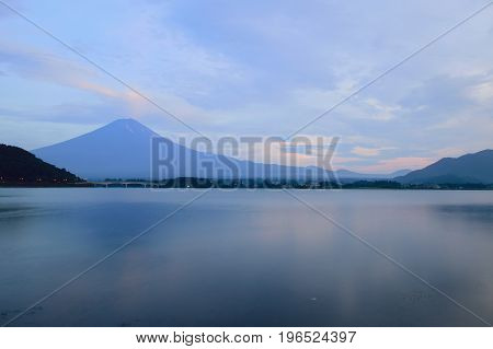 Landscape of Mount Fuji in Japan around lake Kawaguchiko at dusk