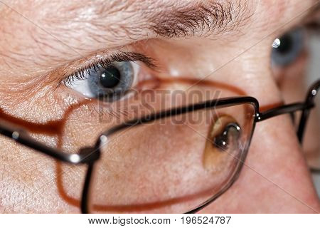 Closeup Photo Of Human Eyes With Glasses
