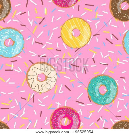 Seamless pattern bright pink tasty vector donuts and sprinkles background in cartoon style for menu in cafe and shop