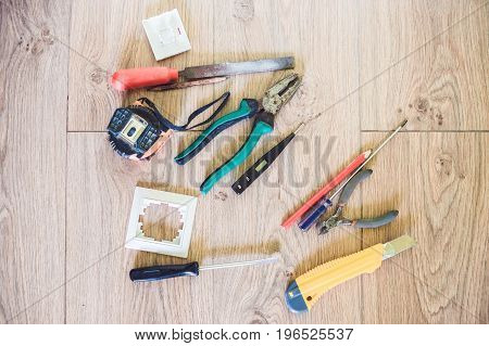 Electrical Tools On The Floor Diy Tools Concept
