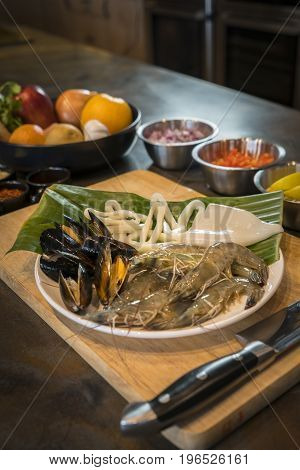 Raw Seafood On Plate With Fruits And Vegetables, Healthy Food, Prawn, Clam Squid