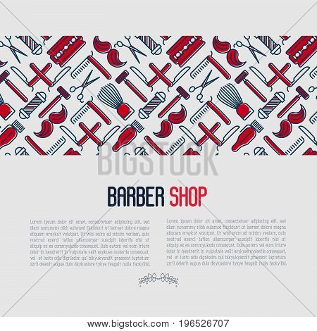 Barber shop concept with thin line icons of shaving accessories. Vector illustration for web page, banner, print media.