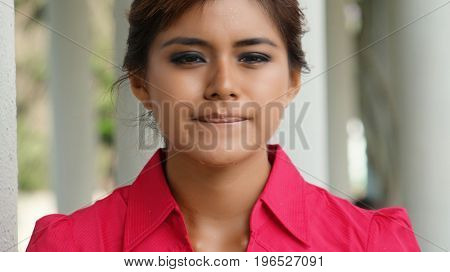 Tearful Teenage Girl and Wearing a Pink Shirt