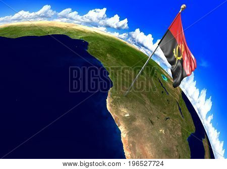 Angola national flag marking the country location on world map. 3D rendering, parts of this image furnished by NASA