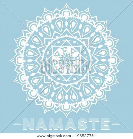 Beautiful vector illustration. White delicate mandala on a blue background