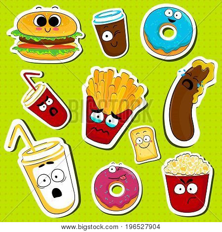 Cartoon fast food cute character face isolated vector illustration. Funny face icon collection. Cartoon face food emoji. Fast food emoticons. Funny food sticker.