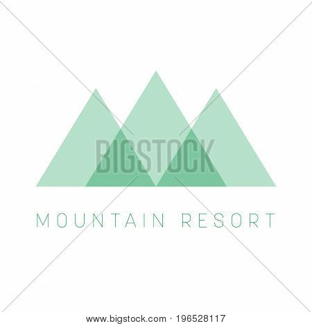 Mountain Resort logo template. Green triangle shape logotype for business or travel company. Vector illustration.
