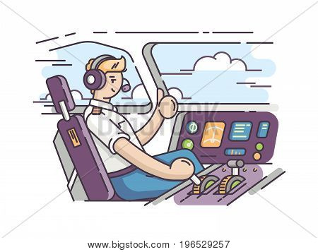 Airplane pilot in control room. Management of aircraft in cockpit. Vector illustration