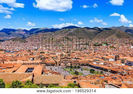 CuscoPeru. Peru the historic capital of the Inca Empire. Panoramic view of the old city Plaza de Armas.