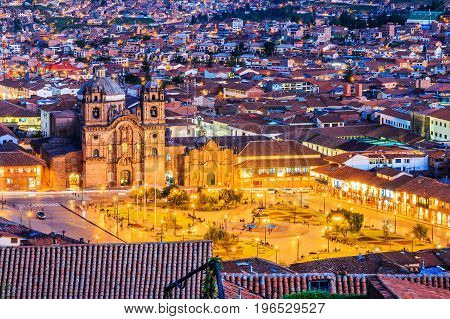 CuscoPeru. Peru the historic capital of the Inca Empire. Plaza de Armas at twilight.