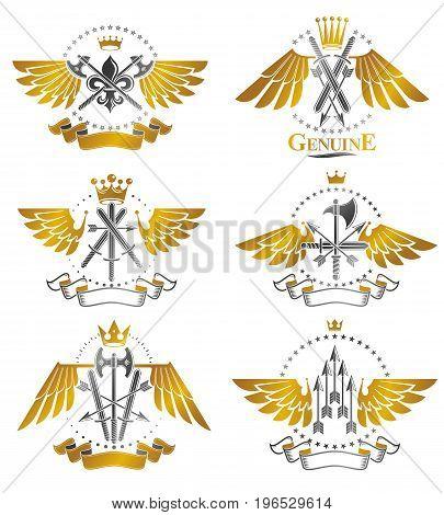 Vintage Weapon Emblems set. Heraldic coat of arms decorative emblems collection.