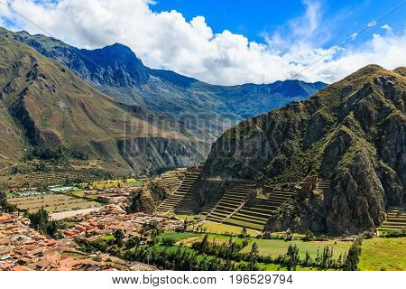 Ollantaytambo Peru. Inca Fortress with terraces and temple hill.