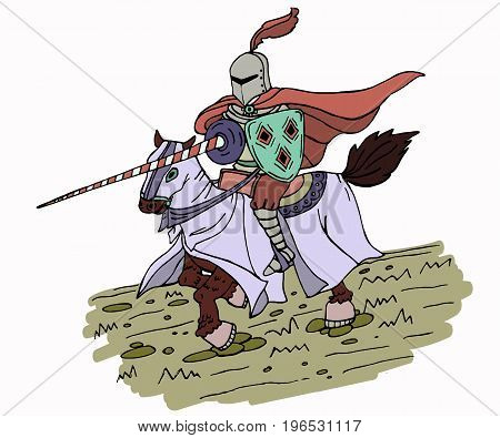Medieval spear knight on horse. Isolated illustration for your design project.