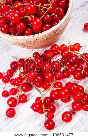 Fresh Ripe Red Currants On Rustic Wood Background.