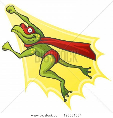 Frog Superhero Cartoon Character Flying. Vector Illustration Isolated on white