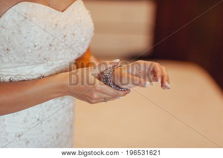 Bracelet On The Bride's Hand. Beautiful Jewelry For The Bride