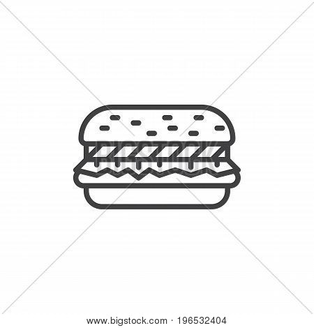 Hamburger line icon, outline vector sign, linear style pictogram isolated on white. Beefburger symbol, logo illustration. Editable stroke. Pixel perfect vector graphics