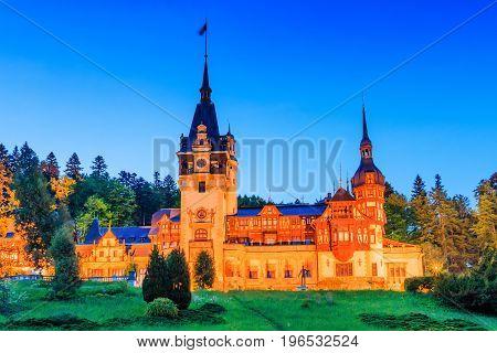 Sinaia Romania. Peles Castle in Muntenia at twilight.