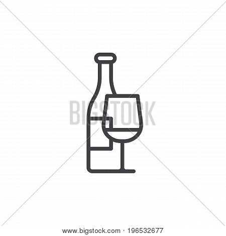 Wine bottle and wineglass line icon, outline vector sign, linear style pictogram isolated on white. Symbol, logo illustration. Editable stroke. Pixel perfect vector graphics