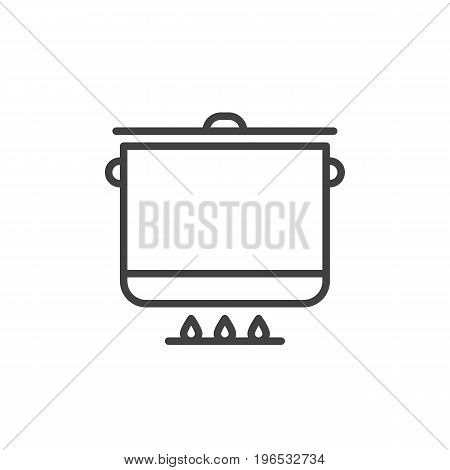 Saucepan, pot line icon, outline vector sign, linear style pictogram isolated on white. Cooking symbol, logo illustration. Editable stroke. Pixel perfect vector graphics