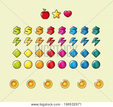 Colorful glossy shapes icons set isolated vector game assets