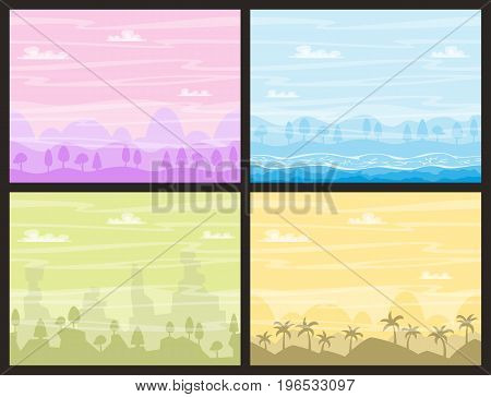 Seamless nature backgrounds. Vector illustration with separate layers. Game backgrounds horizontal seamless.