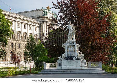 Statue Of Wolfgang Amadeus Mozart, Spring. Burggarten, Vienna, Austria