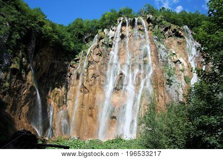waterfall in the national park Plitvice in Croatia