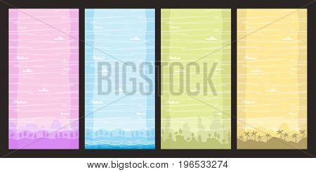 Seamless nature backgrounds. Vector illustration with separate layers. Game backgrounds vertical seamless.