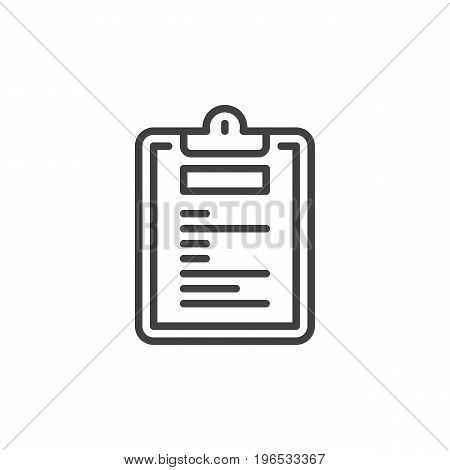 Clipboard notepad line icon, outline vector sign, linear style pictogram isolated on white. Symbol, logo illustration. Editable stroke. Pixel perfect vector graphics