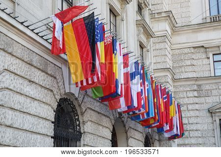 International Set Of Flags On Hofburg Palace. Vienna
