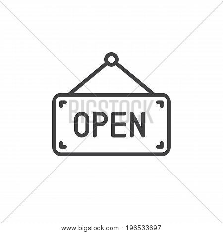 Open sign board line icon, outline vector sign, linear style pictogram isolated on white. Symbol, logo illustration. Editable stroke. Pixel perfect vector graphics