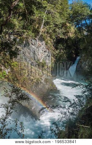 Los Alerces cascade in Nahuel Huapi national park Argentina