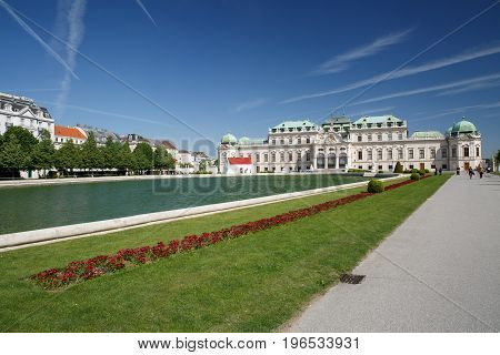 Upper Belvedere And Large Pond, Vienna, Austria.